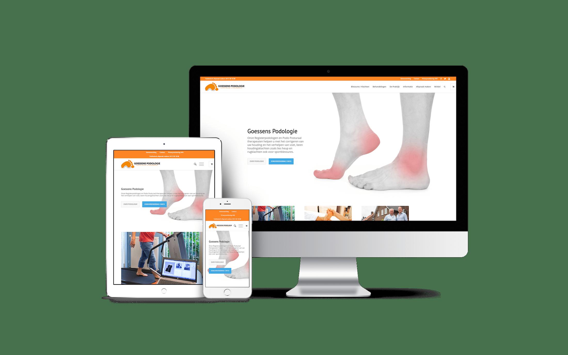 Goessens Podologie - website voorbeeld