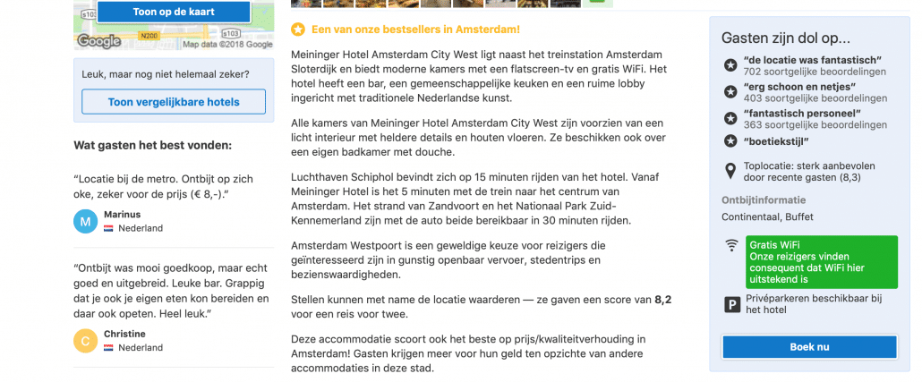 Voorbeeld Call To Action - Booking.com
