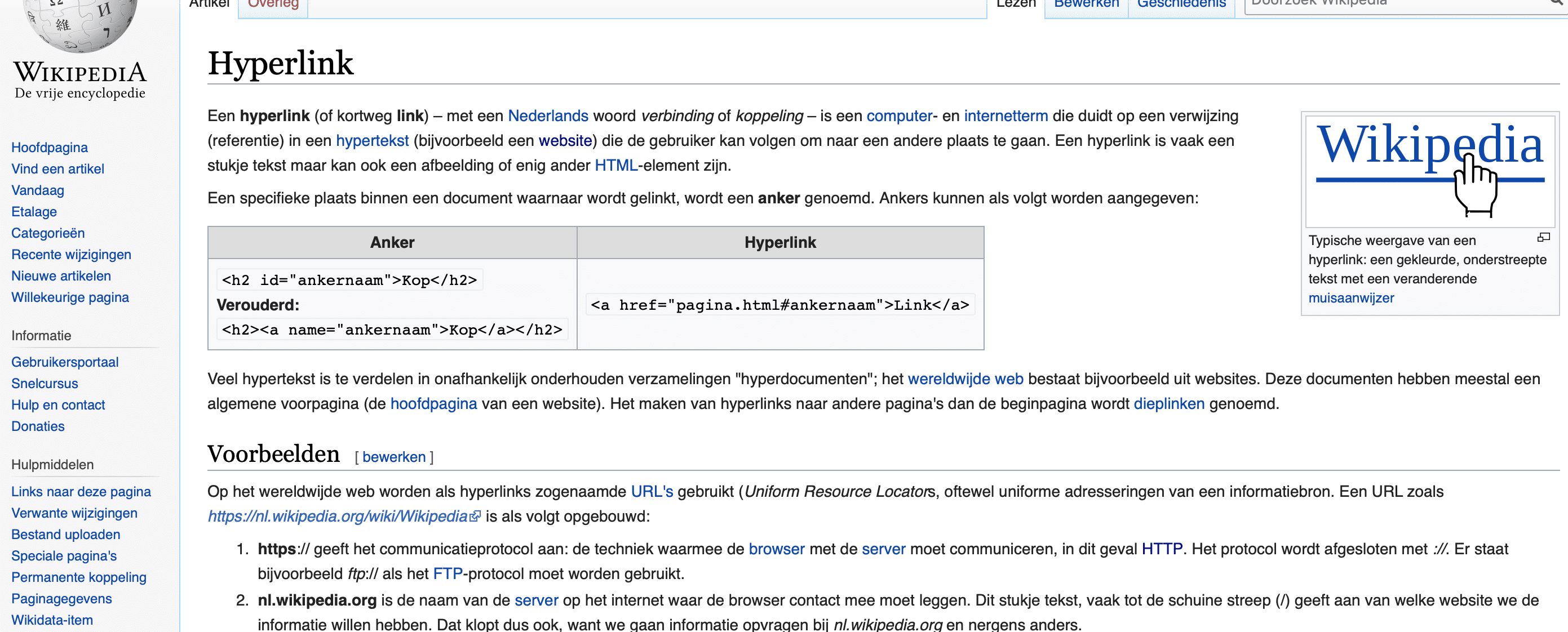 Voorbeelden van links op de website van Wikipedia