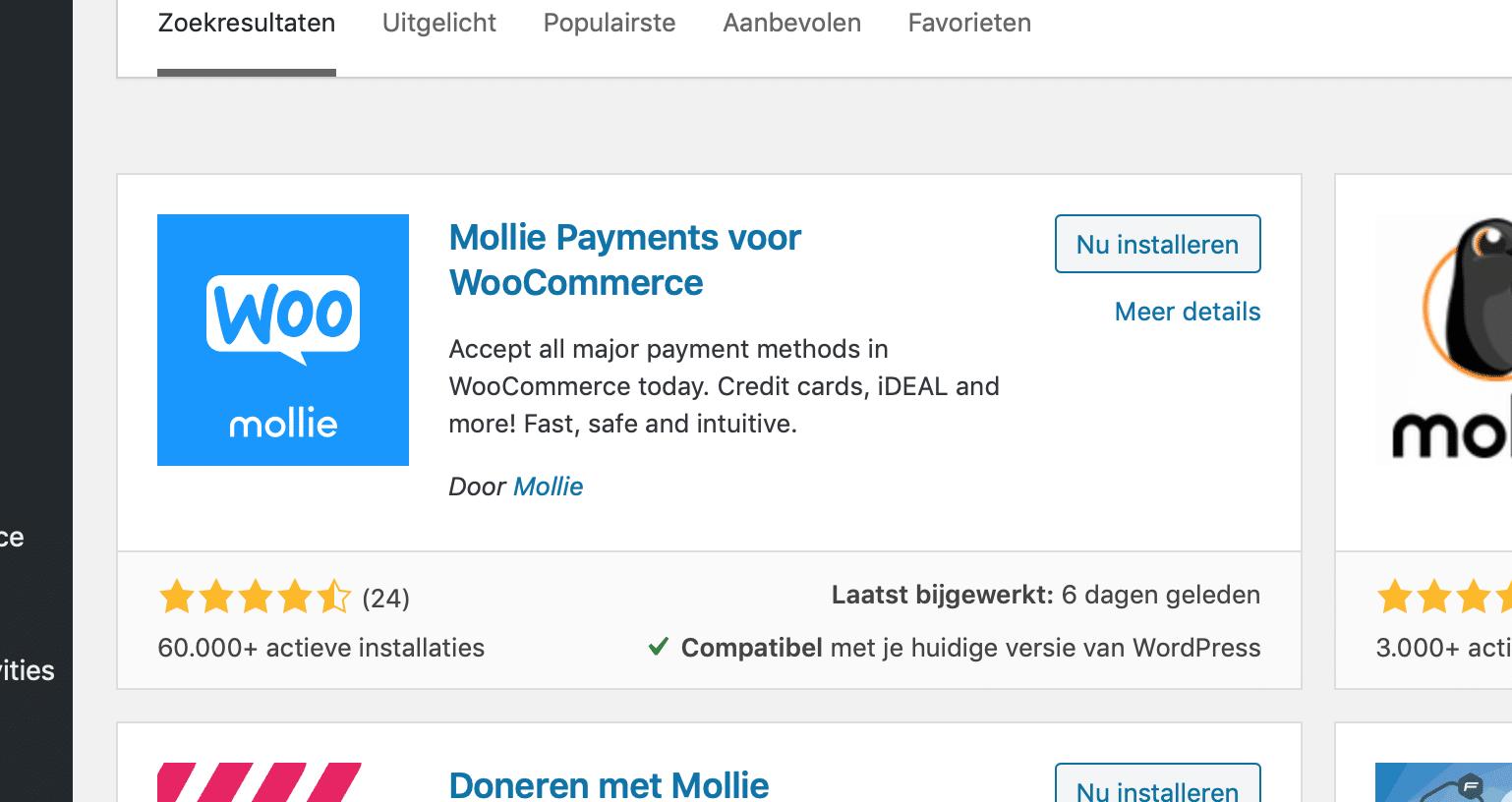 Mollie plugin voor Woocommerce installeren