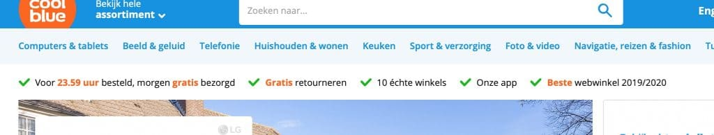 Voorbeeld van Unique Selling Points op de website van Coolblue